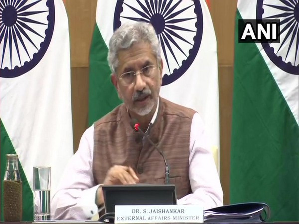 External Affairs Minister S Jaishankar speaking during a press briefing in New Delhi on Tuesday. Photo/ANI