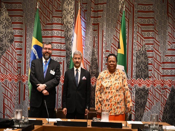 External Affairs Minister S Jaishankar with his Brazilian and South African counterparts at the IBSA Foreign Ministers' meet in New York on Thursday.