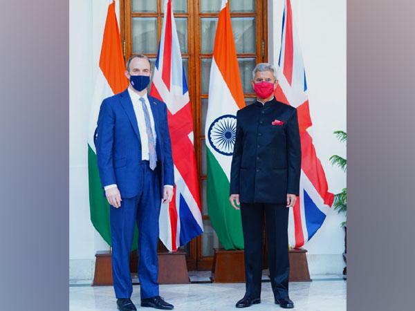 United Kingdom Foreign Secretary Dominic Raab and External Affairs Minister S Jaishankar