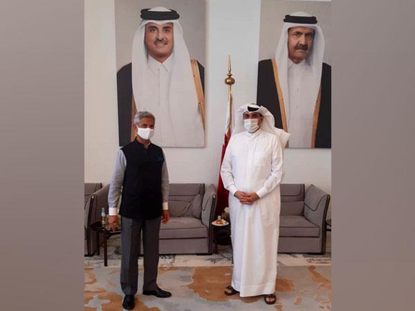 EAM S Jaishankar meeting with Qatari NSA Mohamed Bin Ahmed Al Mesned. (Photo: Twitter handle)