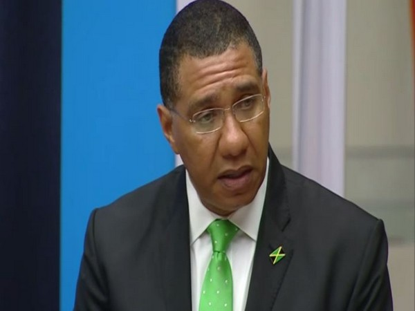Jamaica Prime Minister Andrew Holness speaking at the UN Headquarters in New York on Tuesday. (Photo/ANI)