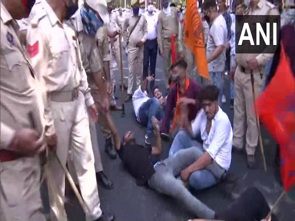 ABVP member detained for protesting against Cluster University of Jammu on Monday. Photo/ANI