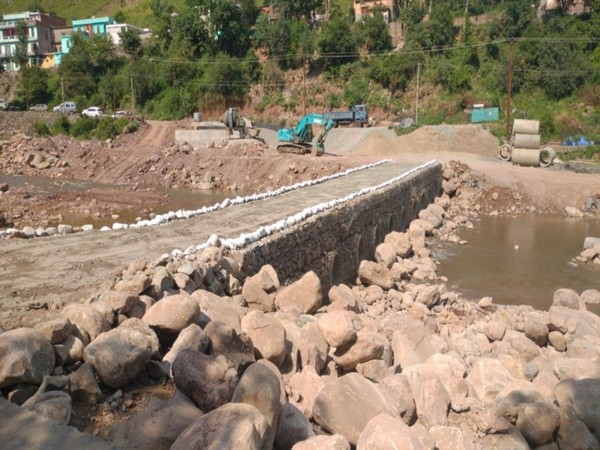 Indian Army has built an army reinforcement bridge at Suktao Nala in Rajouri district. (Photo/ANI)