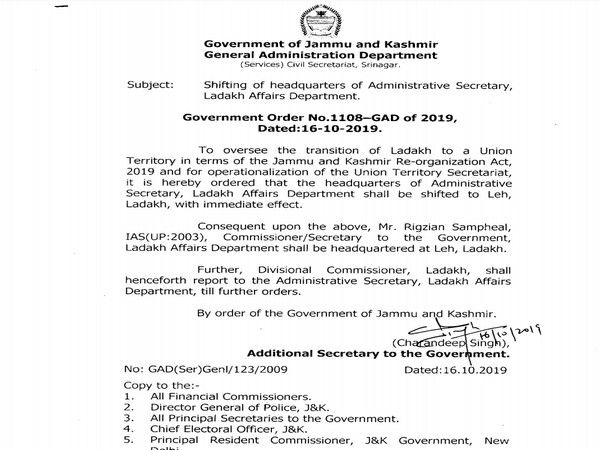 Govt of Jammu and Kashmir order regarding shifting of headquarters of Administrative Secy,Ladakh Affairs Dept to Leh.