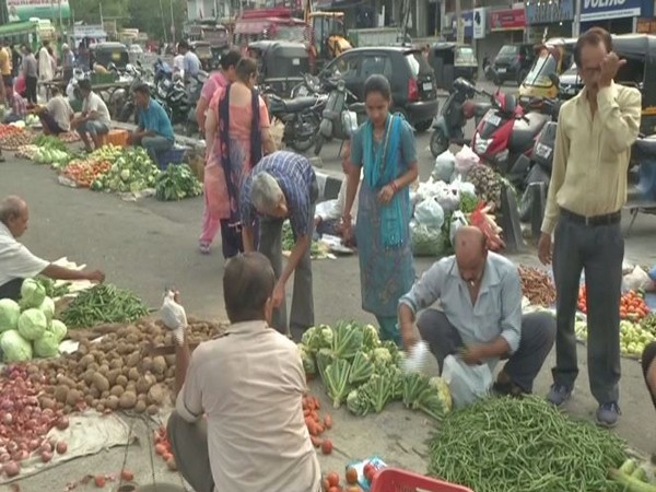 Visuals from a local market in Jammu on Tuesday. Photo/ANI
