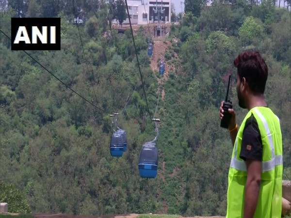 A visual of Jammu Ropeway during a final trial.