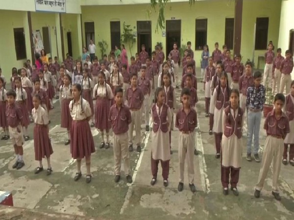 Students in Vidyapeeth School in Jammu were seen enthusiastically participating in the morning assembly. Photo/ANI