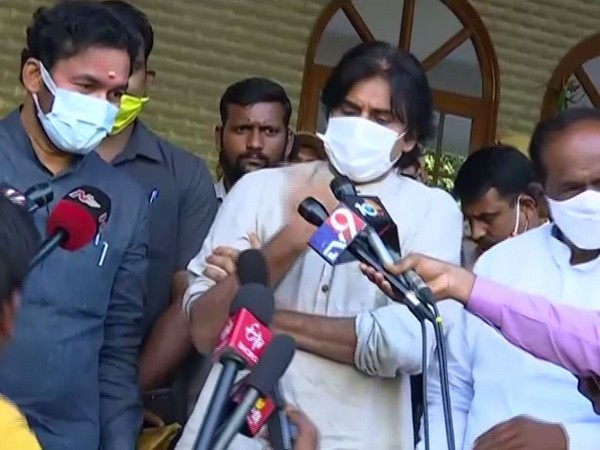 BJP leader G Kishan Reddy (left) and Janasena leader Pawan Kalyan (centre) speaking to reporters in Hyderabad on Friday [Photo/ANI]