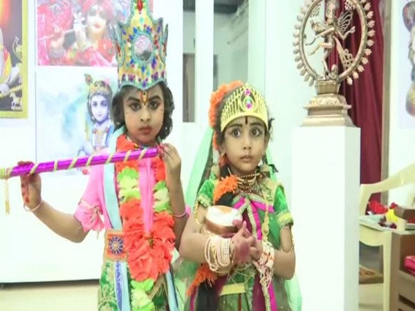 young kids dressed like Krishna and Radha at cultural centre in Vijaywada