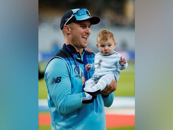 England's Jason Roy celebrating World Cup win with family