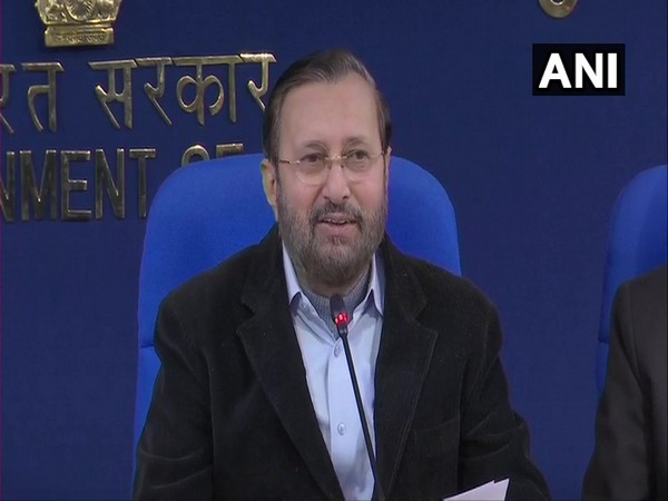 Union Minister for Information and Broadcasting Prakash Javadekar speaking at a press conference in New Delhi on Tuesday. Photo/ANI