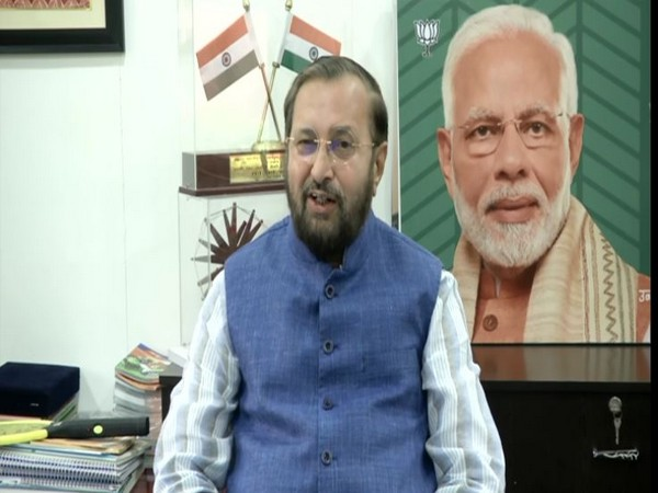 Union Minister Prakash Javadekar speaking to reporters in New Delhi on Tuesday. Photo/ANI