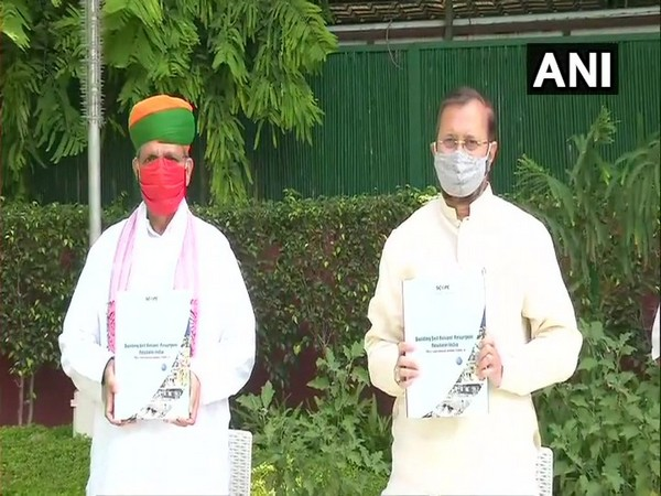 Union ministers Prakash Javadekar and Arjun Ram Meghwal during the release of the compendium on Wednsday. (Photo/ANI)