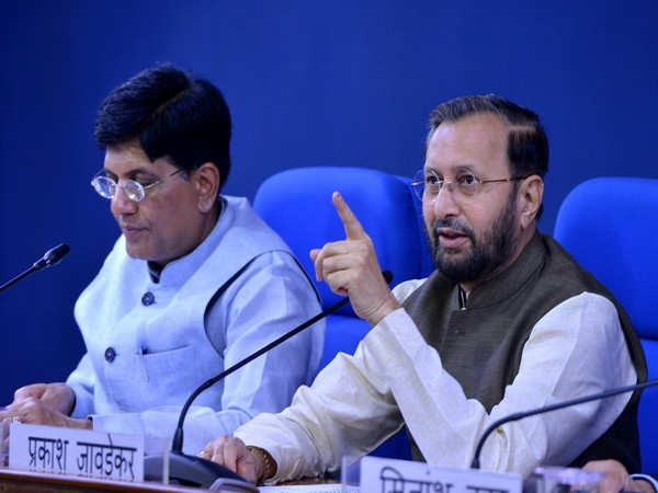 Information and Broadcasting Minister Prakash Javadekar at Cabinet media briefing in New Delhi on Wednesday. Photo/ANI