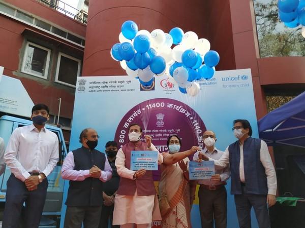 Visual of Prakash Javadekar launching state wide awareness campaign on COVID-19 (Photo/ANI)