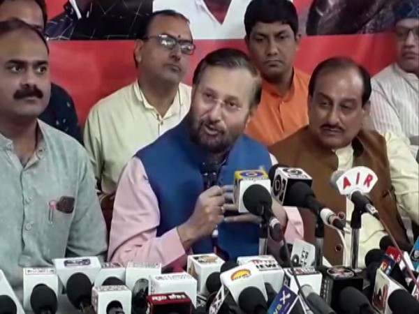 Union Minister Prakash Javadekar at a press conference in Indore on Monday. Photo/ANI