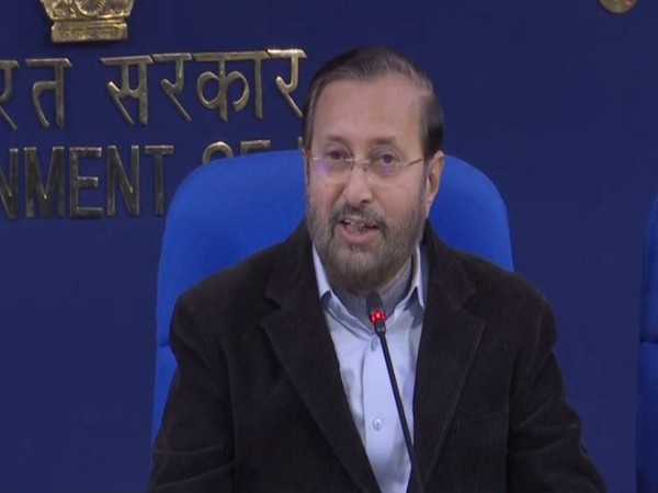 Union Minister for Information and Broadcasting Prakash Javadekar at a press conference in New Delhi on Tuesday. Photo/ANI