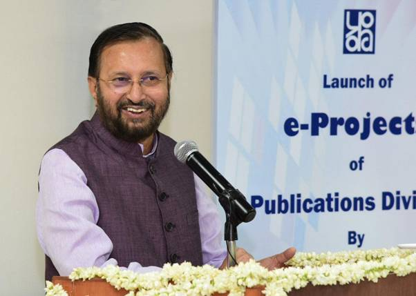 Union Minister Prakash Javadekar at the launch of several e-projects of Publication Division in New Delhi on Wednesday. (Photo Credits: PIB)