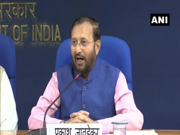 Information and Broadcasting Minister Prakash Javadekar addressing a press conference after meeting of Union Cabinet in New Delhi on Wednesday. Photo/ANI