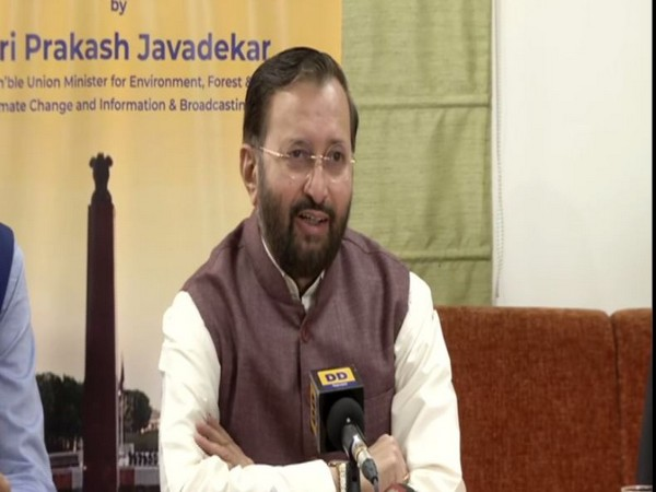 Union Minister Prakash Javadekar speaking to media persons after the release of song.