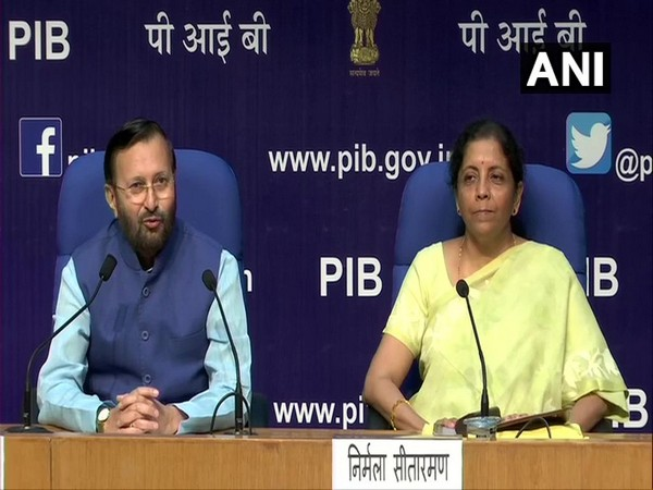 Union Ministers Prakash Javadekar and Nirmala Sitharaman at a press conference in New Delhi on Wednesday.