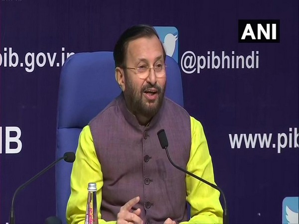 Union Environment Minister Prakash Javadekar speaking at a press conference in New Delhi on Sunday. Photo/ANI