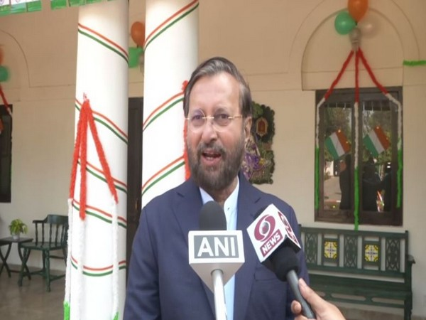 Union Minister Prakash Javadekar speaking to reporters in New Delhi on Sunday. Photo/ANI