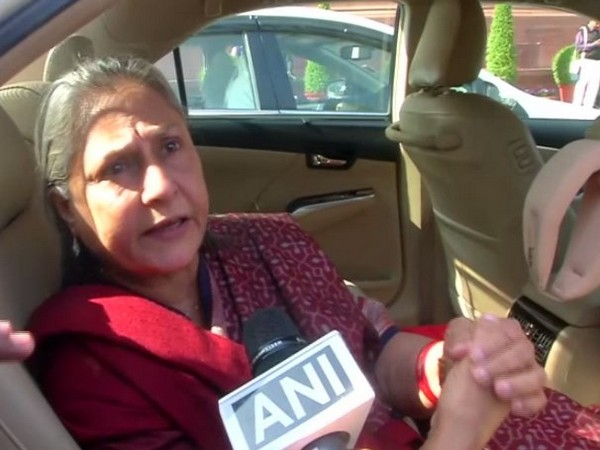 Rajya Sabha MP Jaya Bachchan speaking to ANI in New Delhi on Tuesday. Photo/ANI