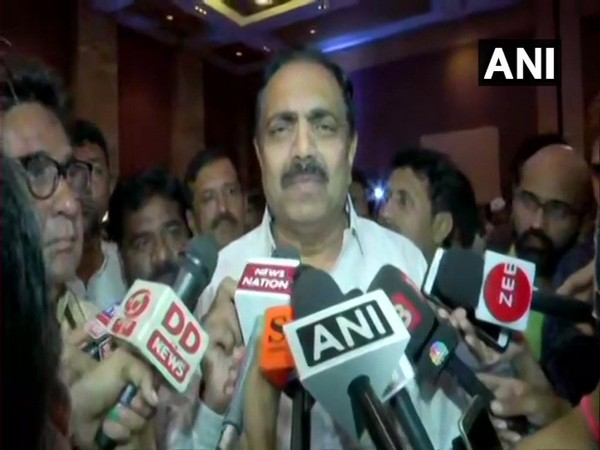 NCP leader Jayant Patil talking to reporters in Mumbai on Monday. Photo/ANI