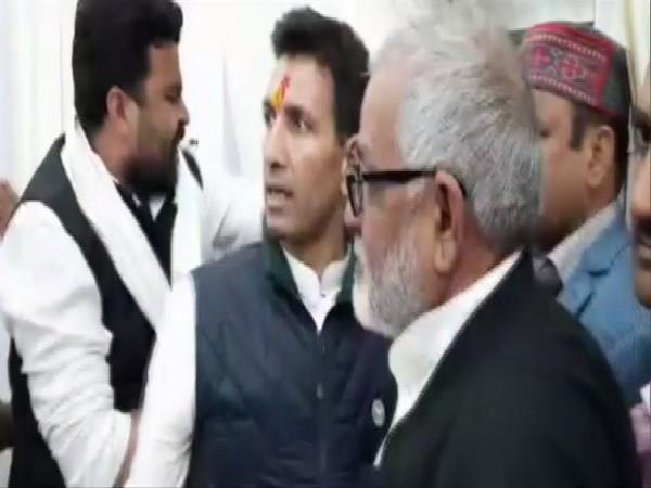 Visual from Madhya Pradesh Minister Jeetu Patwari's office at a time of scuffle. (Photo/ANI)