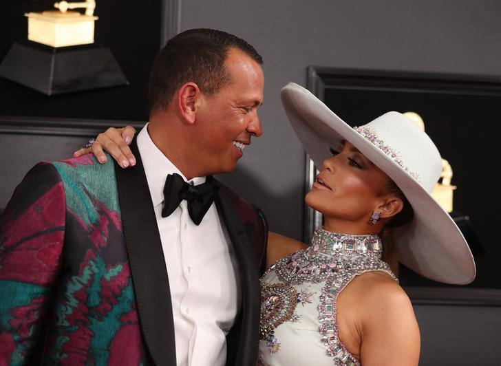 Alex Rodriguez and Jennifer Lopez at 61st Grammy Awards