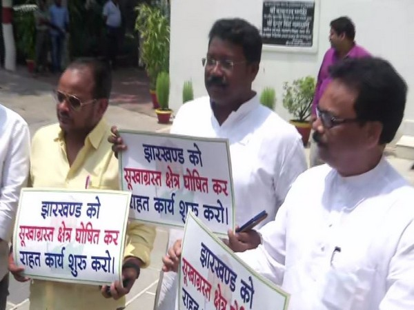 Sukhdeo Bhagat, Congress state president and others outside Jharkhand assembly on Monday
