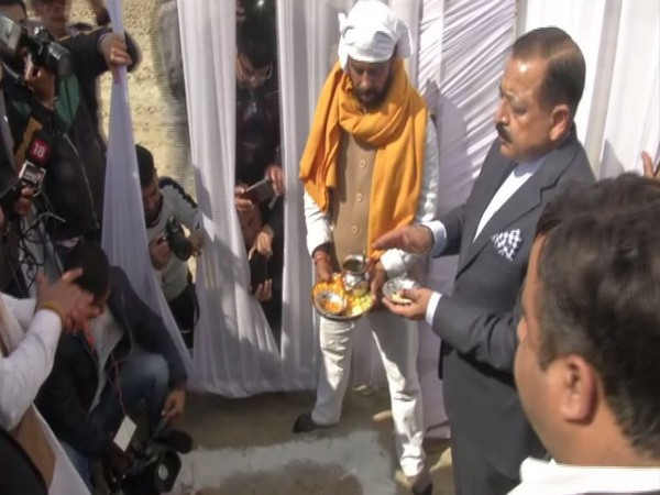 Union Minister Jitendra Singh performing 'Bhumi Pujan' of AIIMS in Samba district on Thursday. Photo/ANI