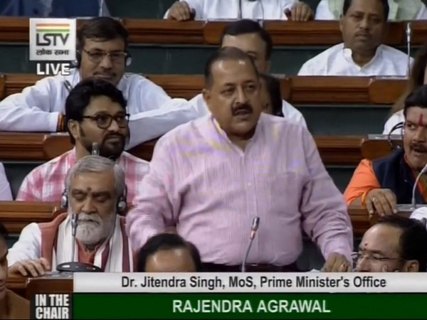 Union Minister Jitendra Singh speaking in Lok Sabha on Tuesday (Picture courtesy: LSTV)