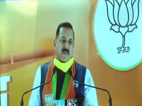 Union Minister Dr Jitendra Singh speaking at the Jammu-Kashmir Jan Samvad rally through video conferencing on Tuesday. [Photo/ANI]