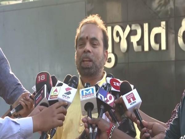 Janardan Sharma, father of the girl, talking to reporters in Ahmedabad on Monday. Photo/ANI