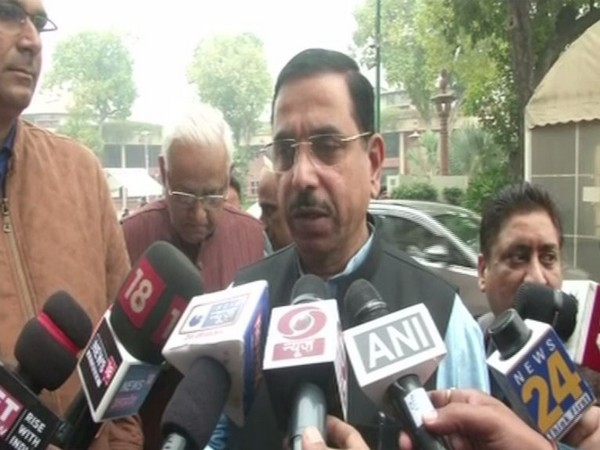 Union Minister pralhad joshi speaking to reporters in New Delhi on Thursday. Photo/ANI