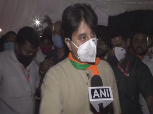BJP leader Jyotiraditya Scindia talking to ANI on Monday. Photo/ANI