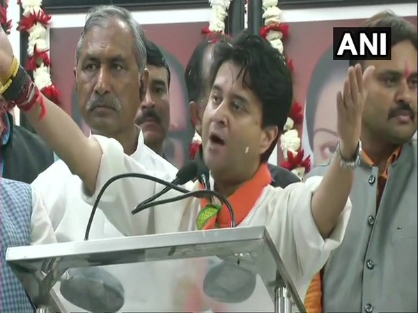 Jyotiraditya Scindia speaking at the event at BJP office in Bhopal on Thursday. Photo/ANI