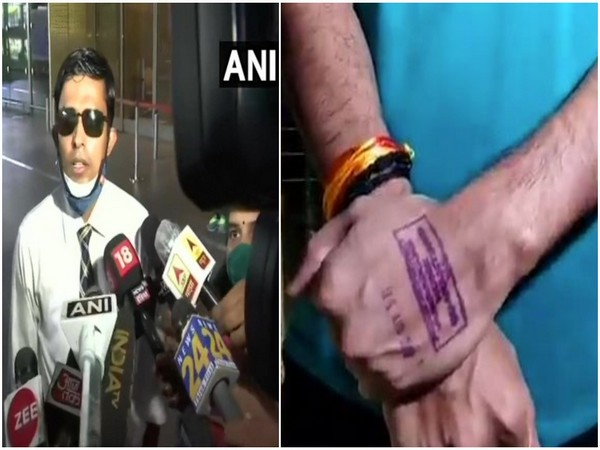 Patna (Central) Senior Superintendent of Police (SSP) Vinay Tiwari (left), BMC's stamp on his hand (right)