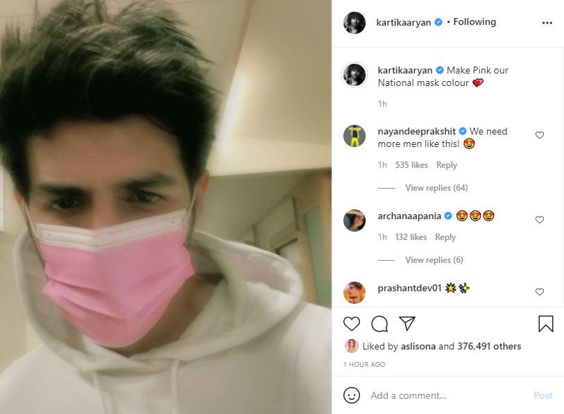 Kartik Aaryan loves his pink surgical mask