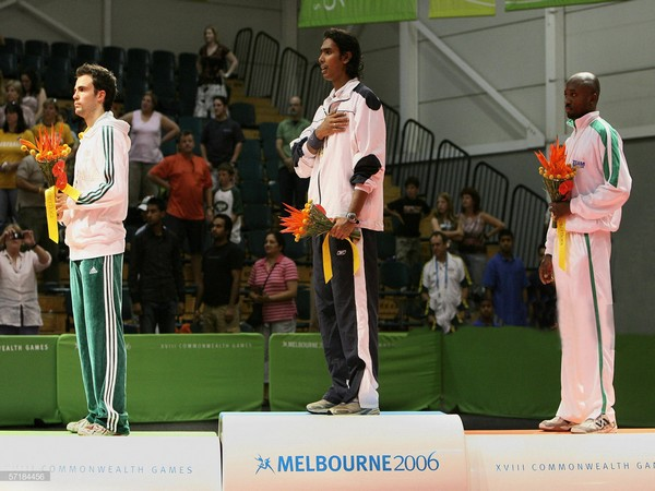 Sharath Kamal (middle) at the podium during Melbourne 2006 Commonwealth Games. (Photo/Sharath Kamal Twitter)