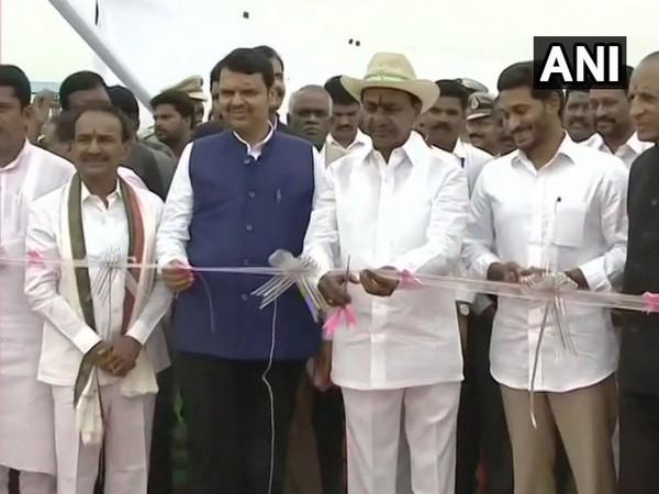 Maharashtra CM Devendra Fadnavis (left), Telangana CM K Chandrashekar Rao (middle) and AP CM YS Jagan Reddy (right) inaugurate Kaleshwaram Lift Irrigation project (Photo/ANI)