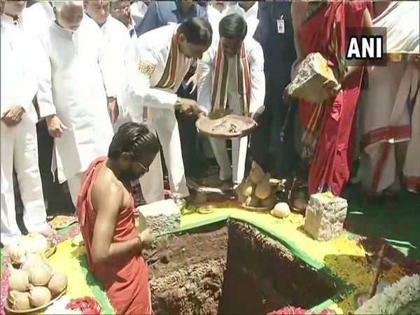 Telangana Chief Minister K. Chandrashekar Rao while laying foundation stone on Thursday in Hyderabad. (Photo: ANI)