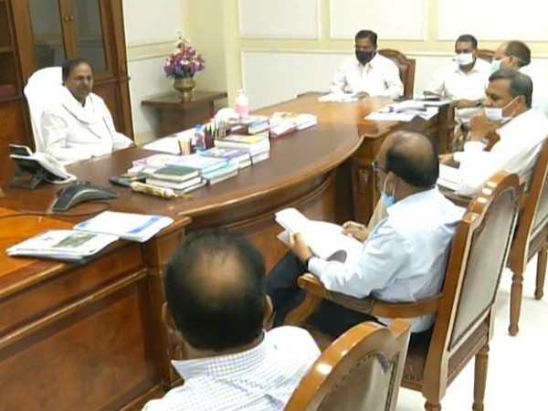 Telangana CM K Chandrashekhar Rao at the meeting held on Wednesday. Photo/ANI
