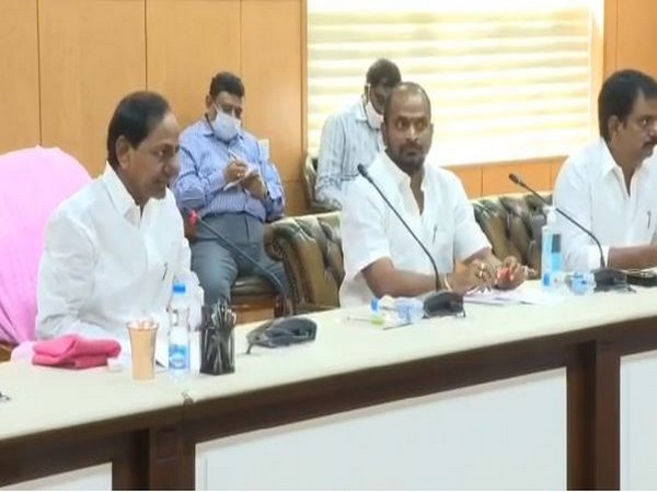 Telangana Chief Minister K Chandrasekhar Rao attending the meeting in Hyderabad on Sunday.