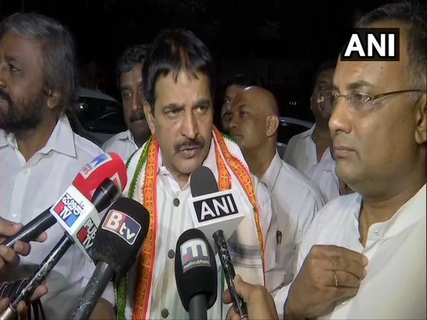 Congress leader KC Venugopal talking to media persons in Bengaluru on Saturday.