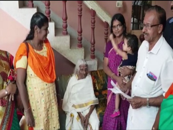 105-year-old Bageerathi Amma dressed in white saree became the 'oldest equivalency learner' of Kerala State Literary Mission [Photo/ANI]