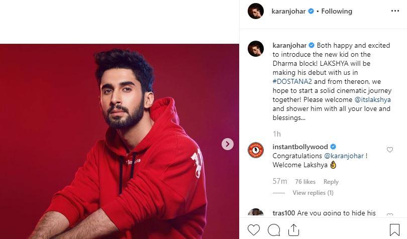 Dostana 2: Karan Johar Introduces Debutant Lakshya As The 'Suitable Boy'