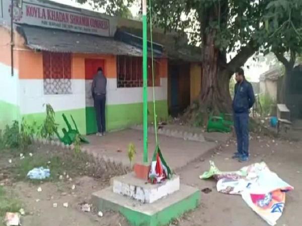 The vandalised Koyla Khadan Shramik Congress (KKMC) office